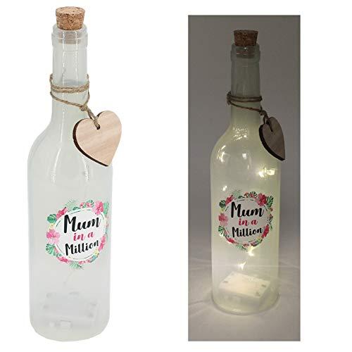 Widdle Celebrations Mama in een miljoen wijnglas witte oplichten fles
