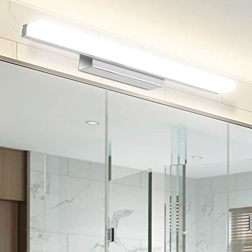 LED Spiegelleuchte, Infankey 40CM Dimmbar Spiegelleuchte Bad mit Fernbedienung, 8W 700LM 4000K 220V, Wasserdicht IP44, Badezimmer Lampe für Badzimmer und Wandbeleuchtung
