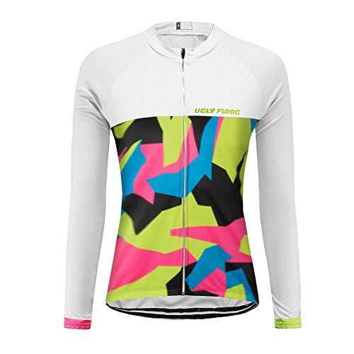Uglyfrog Damen Radfahren Langarm Radfahren Jersey Frühling eine Menge Farben Antislip Ärmel Cuff Road Bike MTB Top Riding Shirt Atmungsaktiv