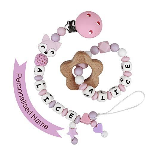 MCGMITT Schnullerkette mit Namen Mädchen Schnuller Clip Silikon Perlen Beißring Zahnen BPA Frei für Babys Fuchs (Pink mit Beißring)