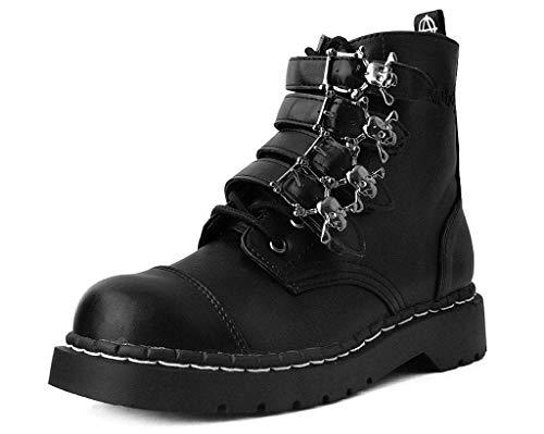 T.U.K. Shoes Damen Schwarz Vegan Leder Schädel Schnalle Anarchic Stiefel 39 EU