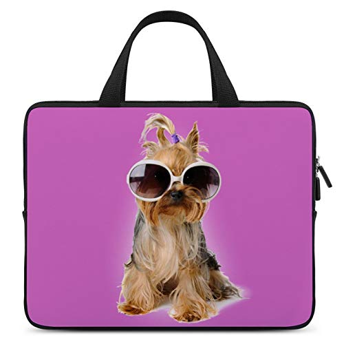 Laptop Protective Case,MacBook Pocket Case,Notebook Computer Briefcase,10inch,Cover for Apple/MacBook/HP/Acer/Asus/Dell/Lenovo/Samsung,Color of Dog Yorkshire Terrier Glasses Carnivore