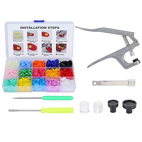 Pernos de presión de colores mezclados Botones de costura Conjunto de sujetadores de resina con alicates Herramienta de presión manual para ropa