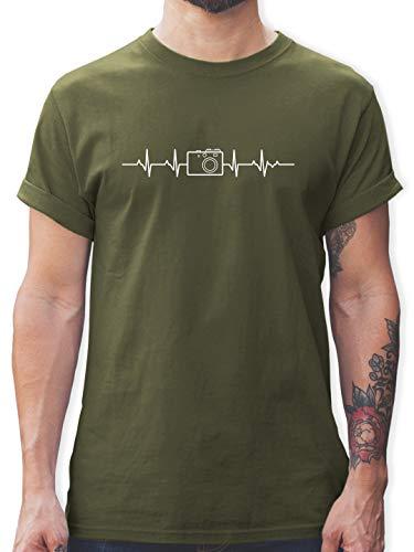 Symbole - Herzschlag Foto Kamera - XL - Army Grün - fotograf t-Shirt - L190 - Tshirt Herren und Männer T-Shirts