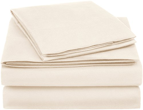 AmazonBasics Essential Cotton Blend Bed Sheet Set, Twin XL, Beige