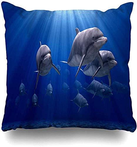 Funda De Almohada,Fundas De Cojin,Plural Group Dolphin Nature Sea Creature Friend Mammals Design Cojín Sofá Silla Decorativo Throw Pillow Case 45X45Cm Para Dormitorio Coche Sala De Estar