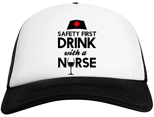 Safety First Drink with A Nurse Gorra De Béisbol para Hombre y Mujer con Malla Trasera Mens Womens Baseball Cap Mesh Back