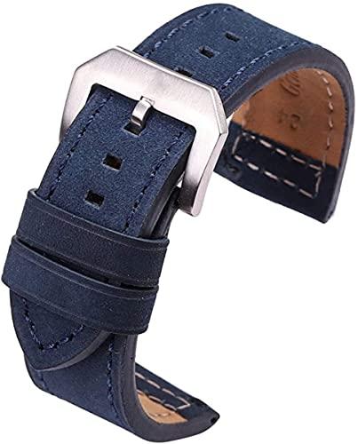 QZMX Correa de Reloj 24mm Cuero de Vaca Reloj de Reloj Negro marrón Gris Azul Mujeres Hombres Reloj de Cuero Correa Pulsera Reloj Accesorios Pentagram Hebilla Correa (Color : Blue, Size : 24mm)