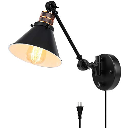 Plug in Wall Sconces , PARTPHONER Swing Arm Wall Lamp with Dimmable On Off Switch, Metal Black Vintage Industrial Wall Mounted Lighting Reading Light Fixture for Bedside Bedroom Indoor Doorway