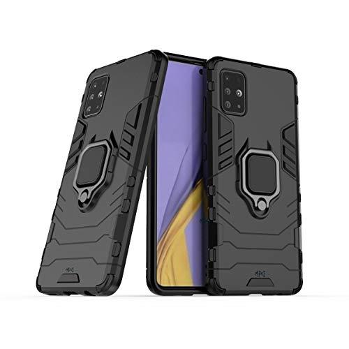 Max Power Digital Funda para móvil Samsung Galaxy A71 con Soporte Anillo Metálico - Carcasa Híbrida Antigolpes Resistente (Samsung Galaxy A71, Negro)