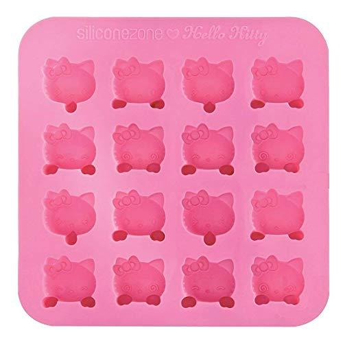 Mein ji Silikonbackform Hello Kitty Pan antihaftbeschichtet Silikon Schokoladenform mit 16 rosa Seifenformen für Ihr Zuhause