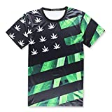 HOSD Hemp Leaf Maple Anacardo Flor National Wind West Coast Hip Hop Wind Green Leaf Camiseta de Manga Corta para Hombre