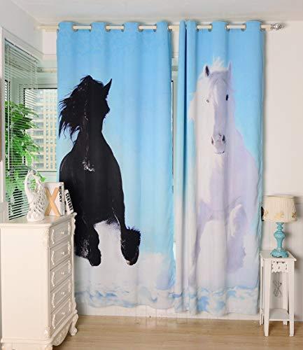 ZXL 3D paard doek gordijnen raam gordijnen mode creatieve gordijnen voor slaapkamer en woonkamer 240x260 cm