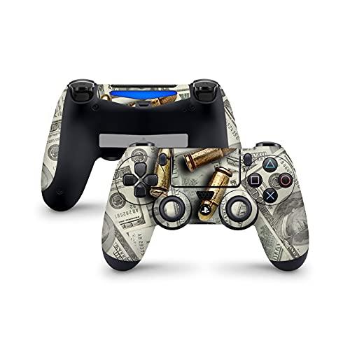PS4 Controller Skin de 46 North Design, 3M Technology, Gangster Cash Money Bullet Mafia Guman Outlaw Desperado Gang Fight, Apto Para PS4 Regular, Pro, Slim Controladores, Fabricado en Canadá
