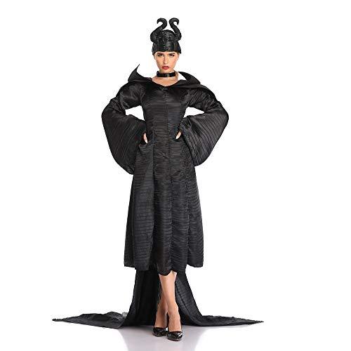 JJAIR Traje de Maléfica Negro Traje de Bautizo de Las Mujeres, Vestido de Diablo de Halloween de la Bruja de Vestuario Femenino Deluxe Glam Traje de Bautizo,XL