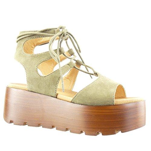 Angkorly - Damen Schuhe Sandalen Mule - Plateauschuhe - Spitze - Multi-Zaum - Wooden Keilabsatz high Heel 6.5 cm - Grüne SK1104 T 39