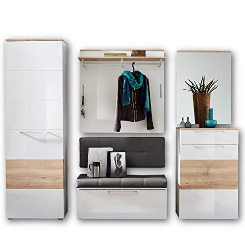 RENO Garderoben Set Weiss Hochglanz / Buche - moderne Flurgarderobe für Ihren Eingangsbereich - 260 x 200 x 40 cm (B/H/T)