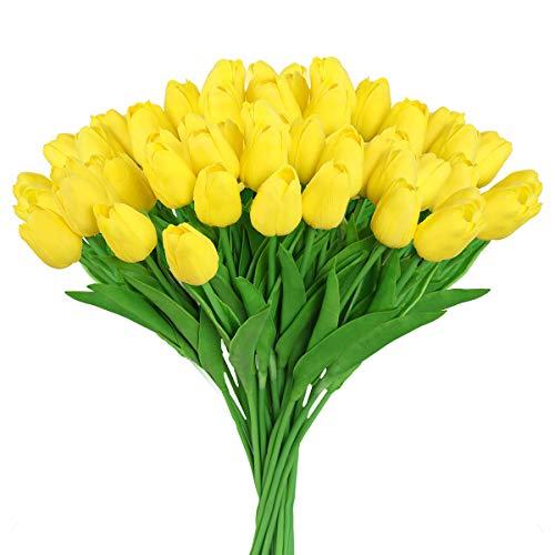 Hawesome 30 Piezas Flor Tulipán Abierto Tulipanes Color Blanco Rojo Amarillo de látex de 33 cm Plantas Flores Plantas Artificiales Decoración de la Boda casa Sala Oficina