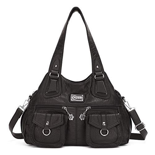 KL928 tasche handtasche damen damenhandtasche schultertasche handtaschen Henkeltasche PU weiches Leder hand taschen für frauen (1593-2-black)