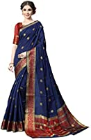 COTTON SHOPY Women's Banarasi Silk & Cotton Saree With Unstitched Blouse Piece