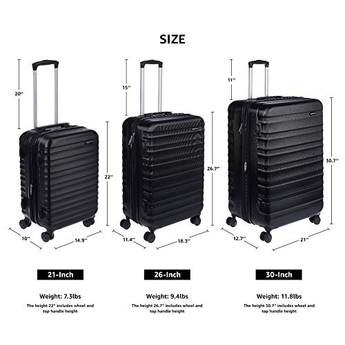 AmazonBasics Hardside Spinner, Carry-On, Expand   able Suitcase Luggage with Wheels, 26 Inch, Black