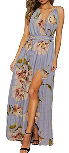 Zyyfly Doramode Women's Summer Deep V Neck Floral Print Split Maxi Long Beach Party Casual Dress Light Blue