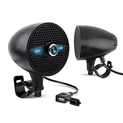 LEXIN LX-S3 New Metal Motorcycle Bluetooth Speaker with FM Radio, Motorcycle Audio Systems with USB Port for Charging, Fit 0.87 to 1.25 inch Handlebar for Harley-Davidson Yamaha Indian Scout, Black by LEXIN