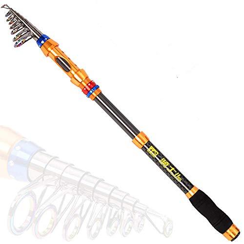 DONG Tele Pole Angelrute Tele Pole Carbon Sea Angelrute ausziehbares Kabel Leicht zu transportieren und bequem Aluminiumlegierung Carbon,Golden + Schwarz