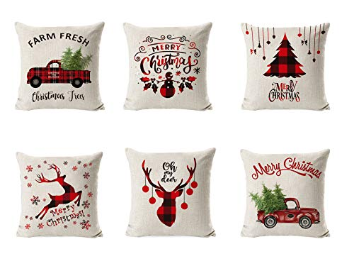 6 Stück Weihnachten Kissenbezug,Kissenbezug Frohe Weihnachten Dekorative,Weihnachten kissen,Rentier Leinen Dekokissen,Schlafzimmer Dekokissen,Kissenbezug frohe weihnachten