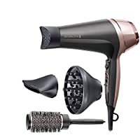 remington asciugacapelli curl&straight confidence, 2200 watt, concentratore ricurvo, 3 temperature/ 2 velocita, generatore di ioni, spazzola inclusa, d5706 - 830 g