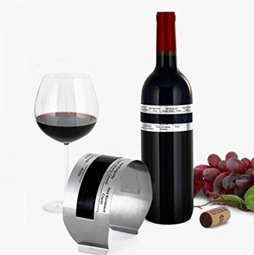 Splendeur d'Art Armband Thermometer LCD Weinkühler Edelstahl, Technologie Thermo Temperatursensor ohne Batterien (4~ 24°C) für Wein weiß, rot und rosé