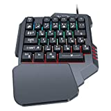One-Handed Gaming Keyboard Colorful Backlit 35 Keys, Portable Mini Gaming Keypad for PC PS4 Xbox Gamer