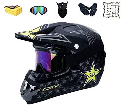 Rockstar Mountainbike Downhill Helme,Fullface Motocross Helm Kinder,Kinder crosshelm Enduro Helm Fahrradhelm Erwachsene Motorrad Schutzhelm Motorradhelm Kinder Cross Helme ATV BMX Offroad Helm (L)
