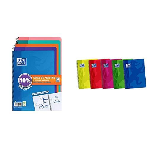 Oxford Cuadernos Folio(A4) Pack 5 unidades. Tapa Plástico. 80 Hojas cuadrícula 4x4. Surtido tendencia. + 400044180 Classic - Pack de 5 cuadernos espiral A5 con tapa de plástico