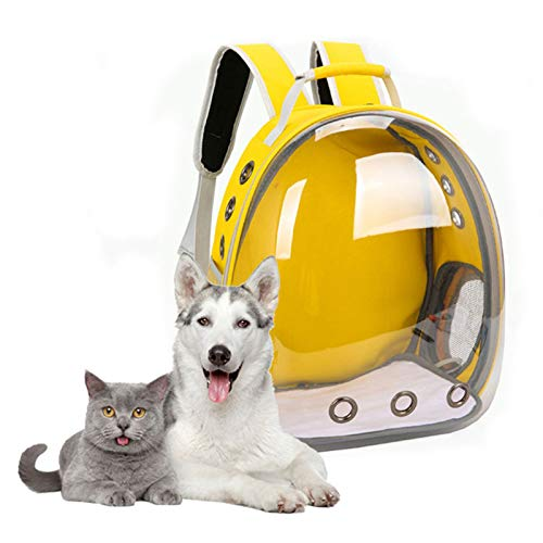 Mochila para gatos, grande, para mascotas, mochila con burbujas, bolsa de transporte ventilada portátil para perros pequeños, transparente impermeable al aire libre, diseño de cápsula transpirable