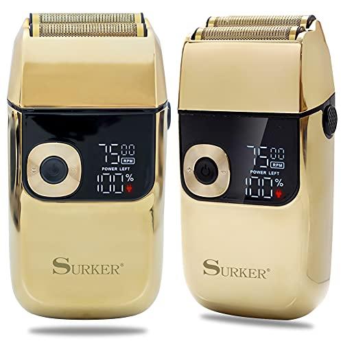 Surker Foil Shavers for Men Electric Shaver Razor Cordless Professional Barber Shaver USB Rechargeable Wet/ Dry Shaving( Gold)