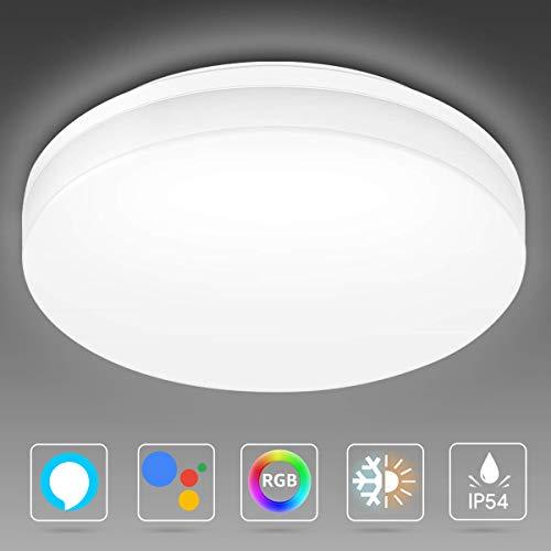 LE 15W Smart WiFi plafondlamp, 1250lm Ø22cm LED plafondlamp dimbaar (RGB + koud tot warm wit 2700-6500K), IP54 badkamerlamp bestuurbaar via app, compatibel met Alexa Google Home, geen hub nodig