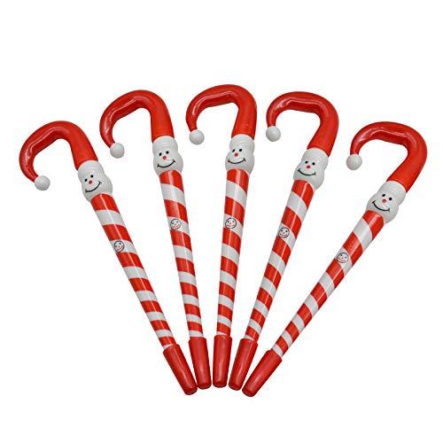 Maydahui クリスマスボールペン 可愛い 傘 ペン 12本セット 0.5mm 青 油性ボールペン 杖ペン 松葉杖ペン ボールペン キャンディ 傘 スノーマン ツリー オーナメント クリスマス プレゼント交換 クリスマスパーティ グッズ 雑貨 かわいい