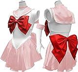 Baipin Disfraz De Sailor Moon Anime Cosplay, Rosa Vestido y Guantes Blancos Arco de Princesa Vestido Uniforme de Juego para Mujer, Talla M, Longitud 82cm
