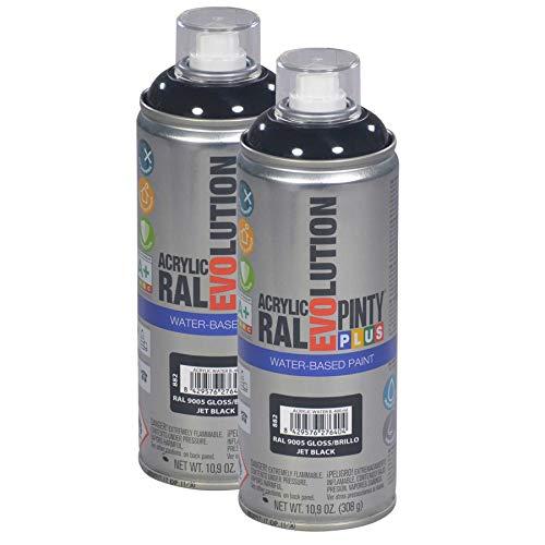 Pintyplus Evolution Water Based Spray Paint - 10.9 oz, Environmentally Friendly, Acrylic, Low Voc, Low Odor, Glossy Spray Paint. RAL 9005, Gloss Jet Black. Pack of 2