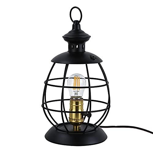 Lámpara de mesa pequeña retro para dormitorio, lámpara de mesita de noche, lámpara de escritorio industrial para salón, lámpara de mesa negra, lámpara decorativa farol 2 en 1, lámpara hurricane