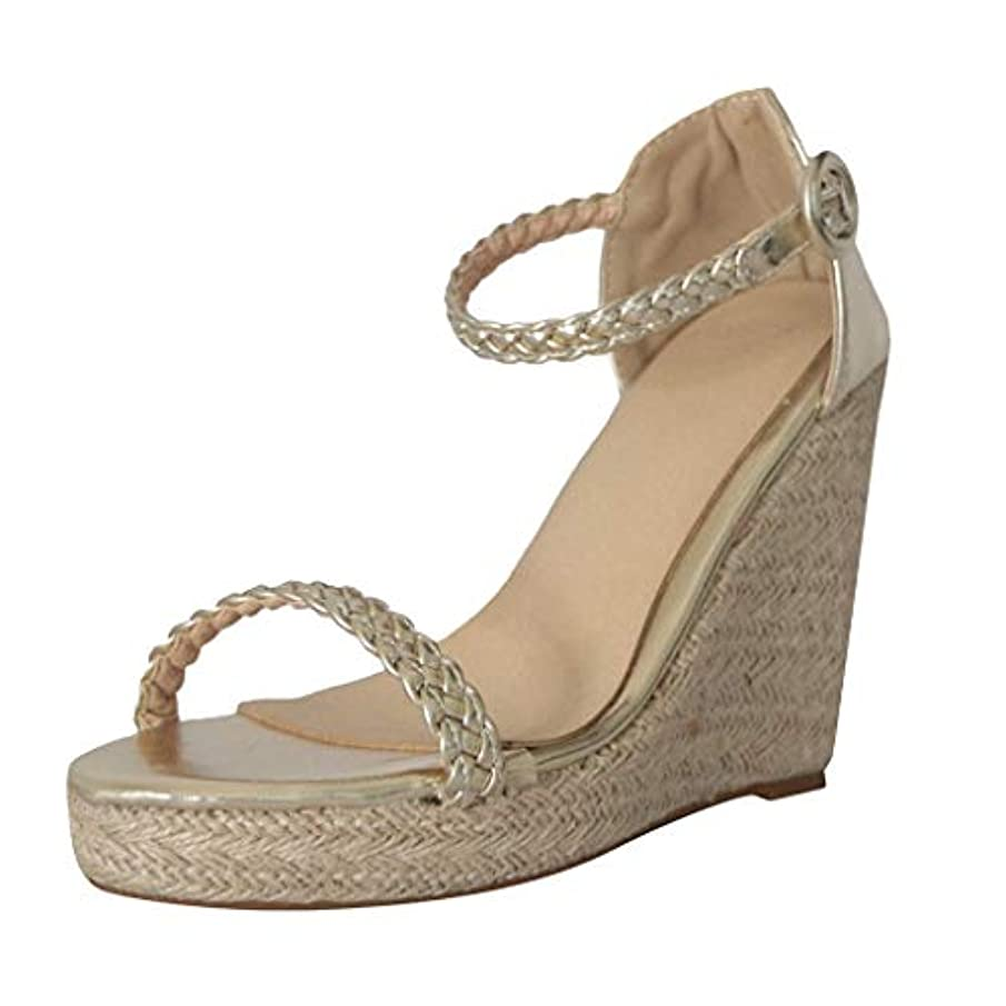 Women's Buckle Ankle Strap High Wedge Sandal Summer Casual Open Toe Espadrille Heel Platform Sandals Shoes by kaiCran