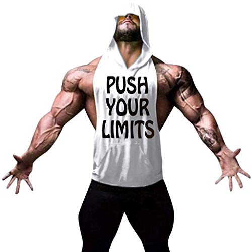 Great Features Of XQXCL Mens Fitness Muscle Tank Sleeveless Bodybuilding Hooded Tops Blouses White