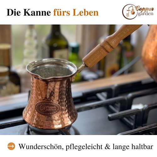 Copper Garden Mokkakanne aus Kupfer I Ibrik aus lebensmittelecht verzinntem Kupfer mit Holzgriff I Mittelgroße Kupferkanne zum Milchaufwärmen (für Kaffee) oder zum echten Mokka Kochen - 4