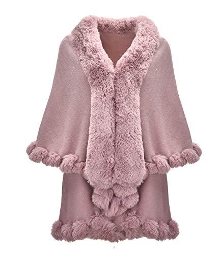 ZLYC Damen Cardigan Poncho aus Feinstrick mit Kunstpelz Zierstreifen Schichten, vorne offen -  Pink -  Einheitsgröße