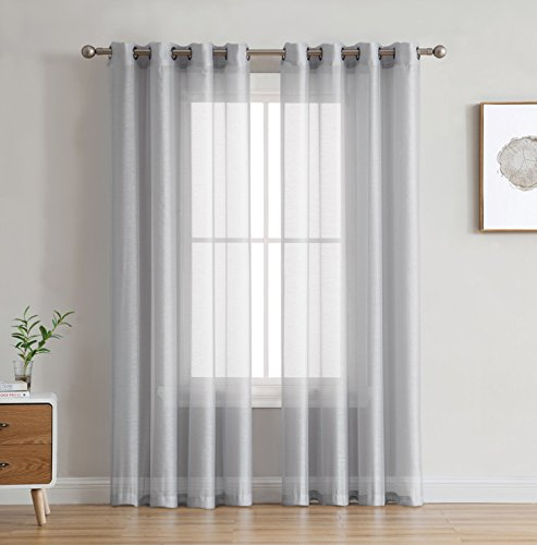 HLC.ME 2 Piece Semi Sheer Voile Light Filtering Window Curtain Grommet Panels for Bedroom, Living Room & Dining Room - Silver Grey - 54 W x 72 inch Long