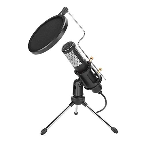 Ruiqas Unidirectional Microphone with Tripod Blowout Cover for Singing Family Karaoke Large Concerts Gaming Mic