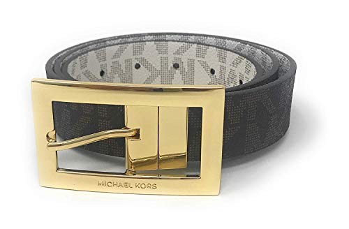 Michael Kors Women's Rectangle Buckle Reversible Brown To Vanilla Logo Belt (L)