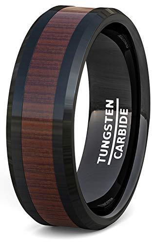 Hombre Boda Banda Negro Anillo de Tungsteno incrustación de madera patrón borde biselado Comfort Fit