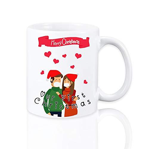 yizeda 2020 - Tazas de Navidad, fiestas navideñas, tazas de té, tazas de café, nuestra primera Navidad, regalos para parejas, regalos de para novios, novias, esposos y esposas